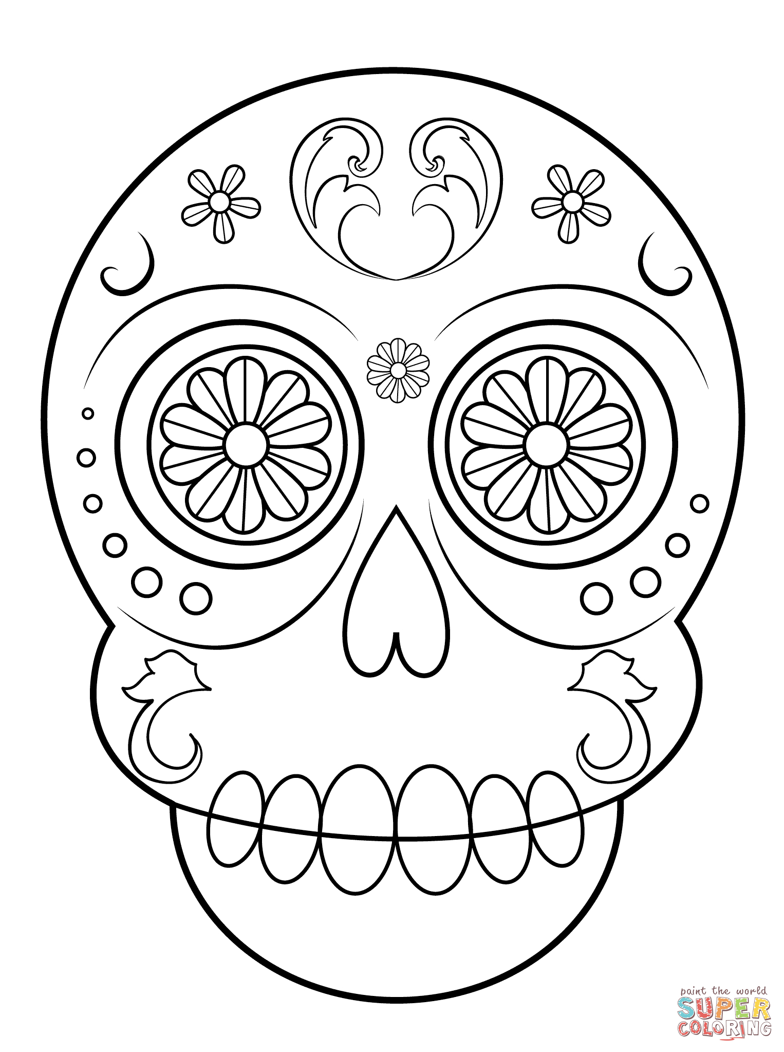 Simple Sugar Skull Coloring Page | Free Printable Coloring Pages - Free Printable Sugar Skull Day Of The Dead Mask