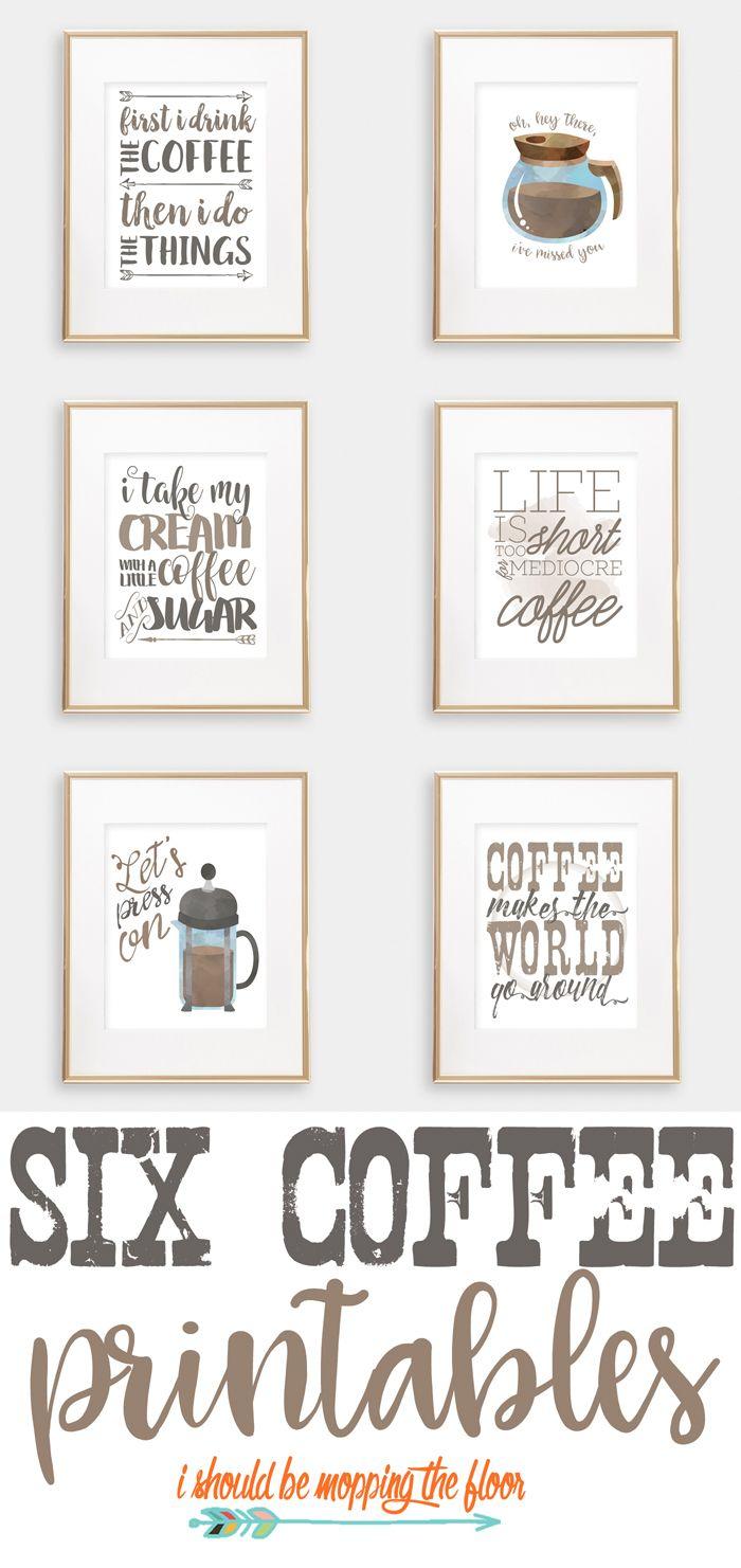Six Coffee Printables   Printables   Pinterest   Coffee Bar Home - Free Printable Coffee Bar Signs