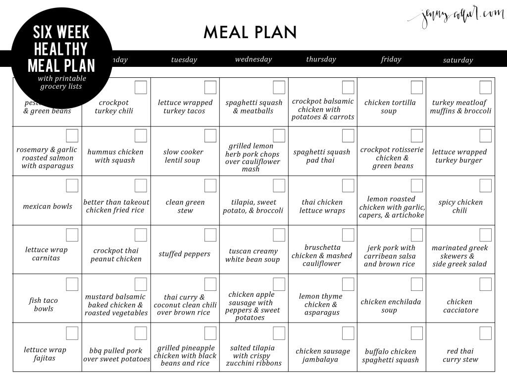 Six Week Healthy Meal Plan With Free Printable Grocery Lists - Free Printable Meal Plans For Weight Loss