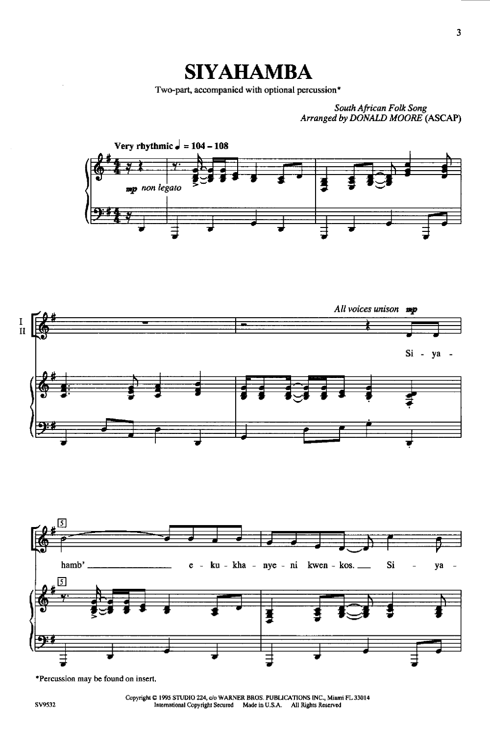 Siyahamba (Two-Part ) Arr. Donald Moore| J.w. Pepper Sheet Music - Airplanes Piano Sheet Music Free Printable