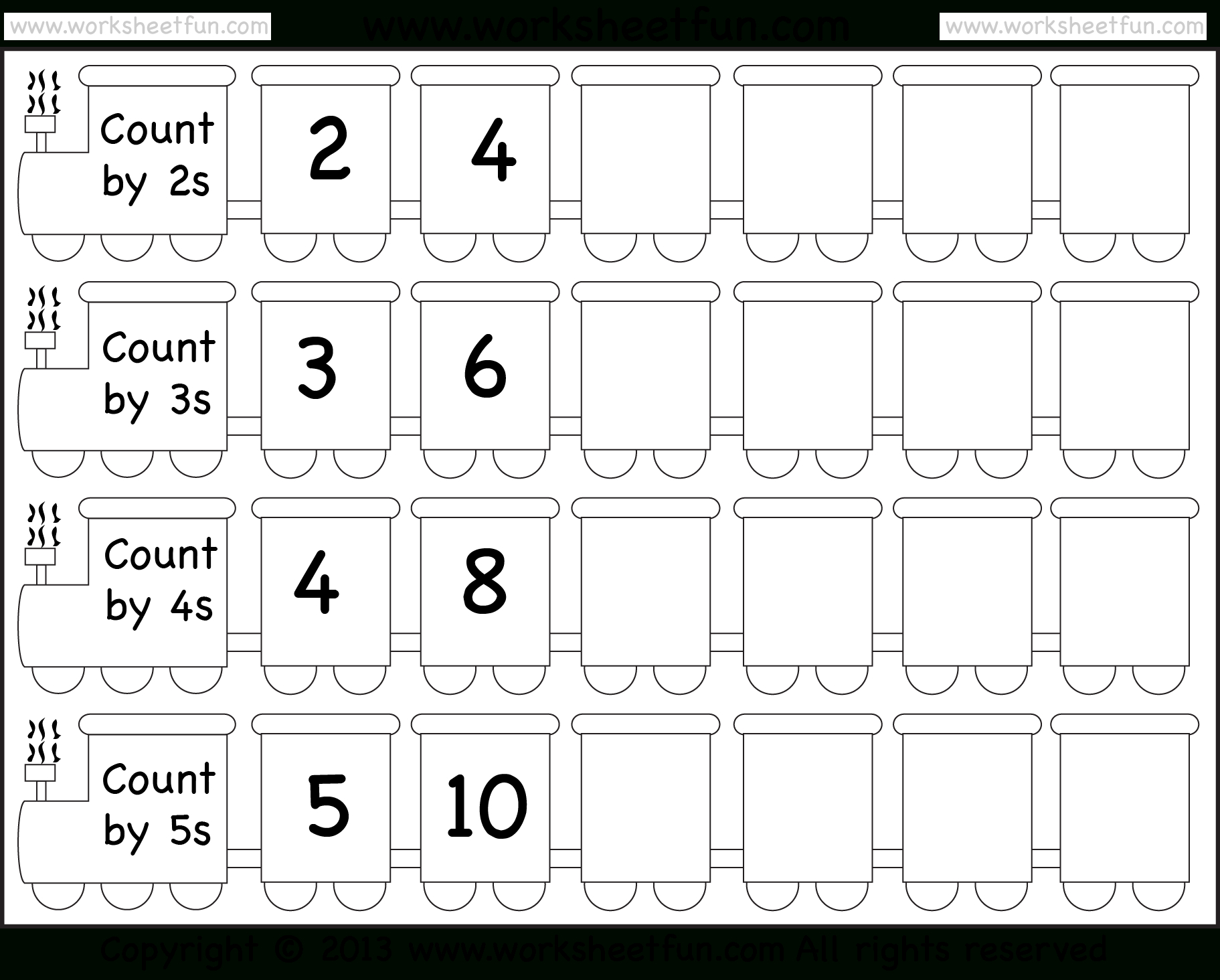 Skip Counting2, 3, 4 And 5 – Worksheet / Free Printable - Free Printable Skip Counting Worksheets