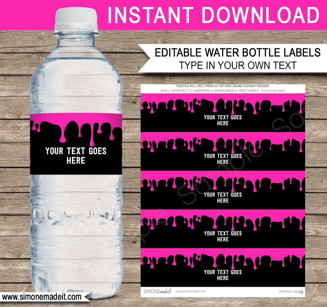 Slime Water Bottle Labels | Pink Slime Theme Birthday Party - Free Printable Paris Water Bottle Labels