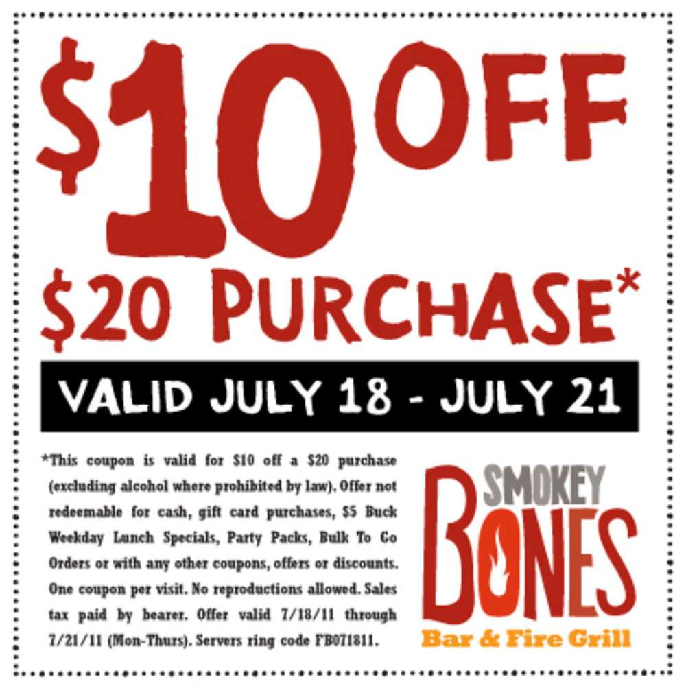 Smokey Bones 10 Off Coupons Free - Free Printable Coupons 2017