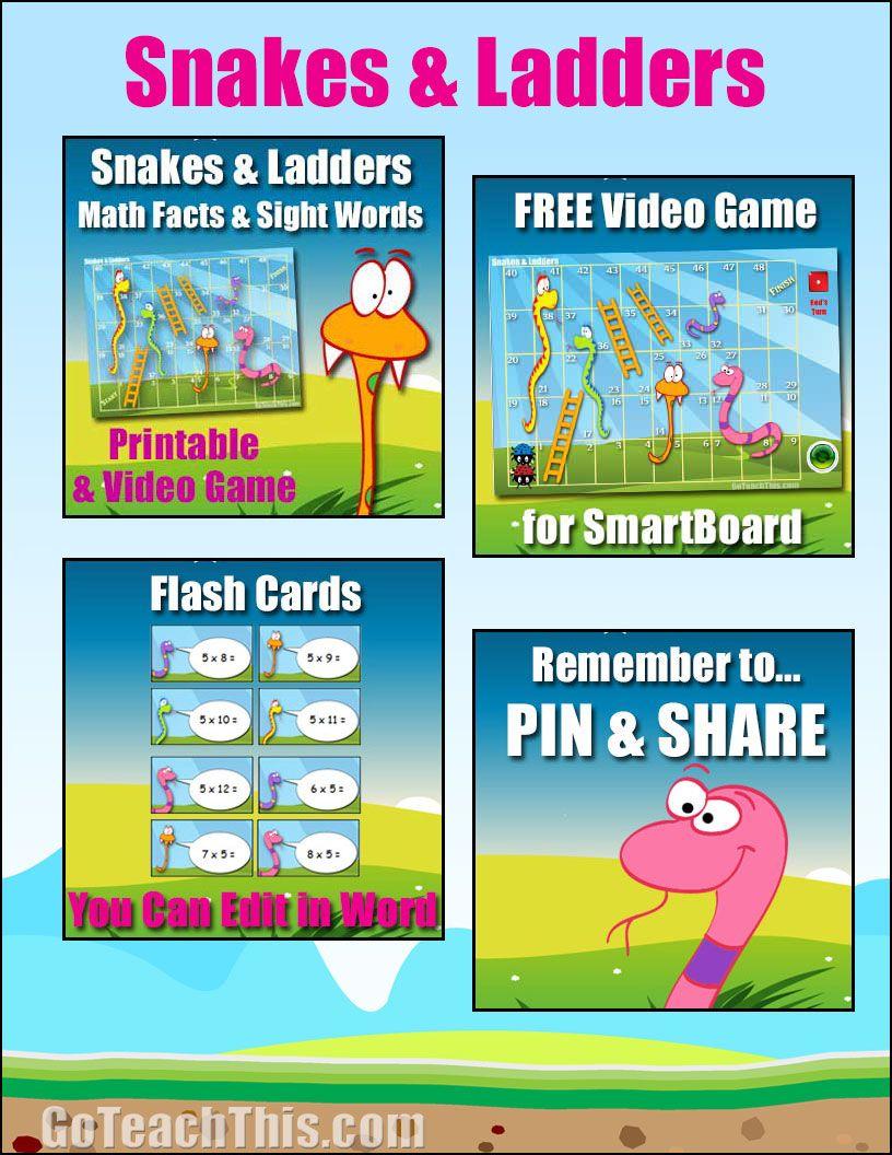 Snakes & Ladders Free Printable Math Literacy Smartboard Version - Literacy Posters Free Printable