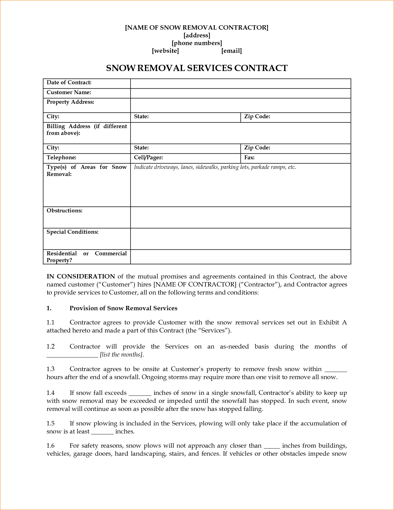Snow Removal Contract Templates – Emmamcintyrephotography - Free Printable Snow Removal Contract