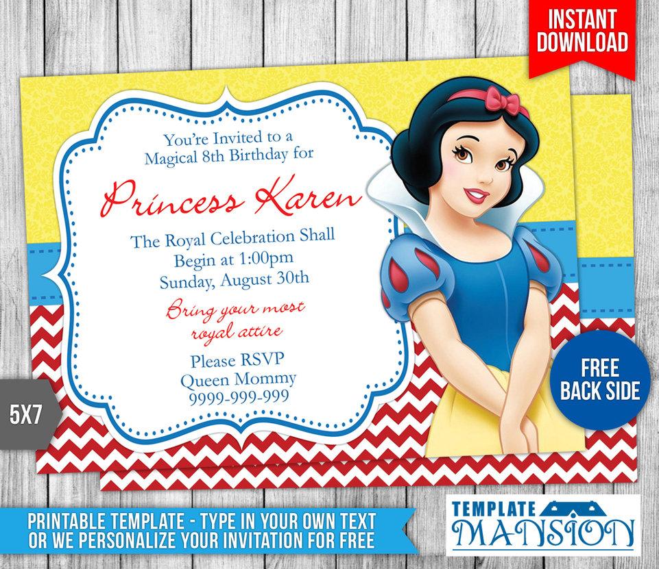 Snow White Invitations Snow White Printable Birthday Party - Snow White Invitations Free Printable