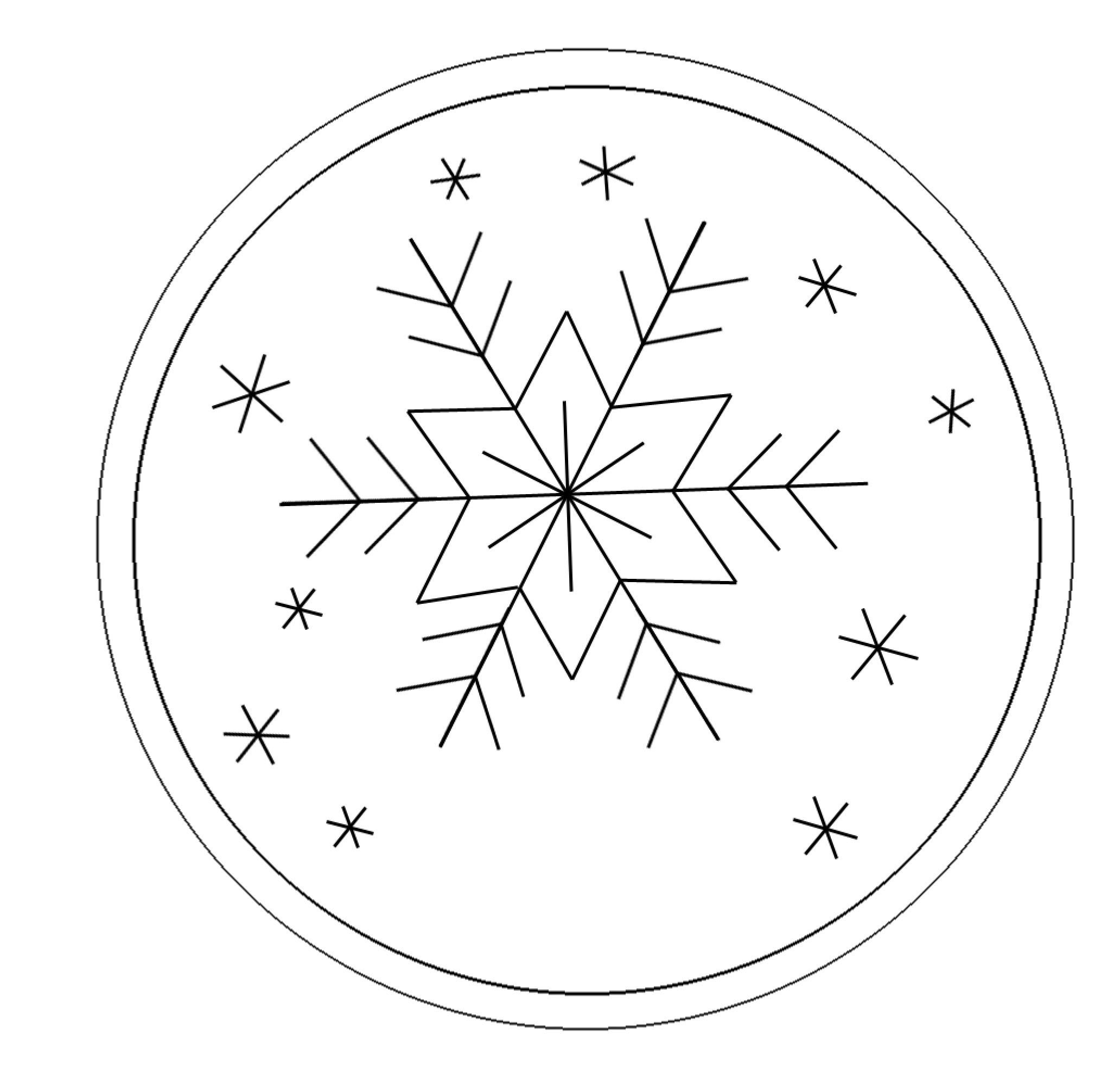 Snowflake Ornament (Free Hand Embroidery Pattern) | Line Drawings - Snowflake Template Free Printable