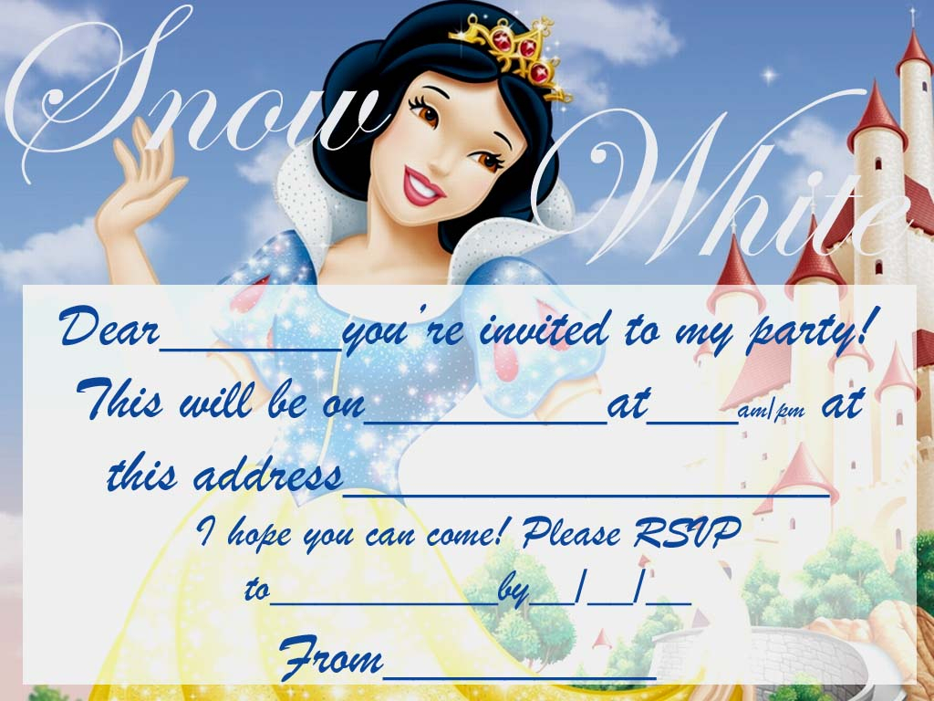 Snowwhite Free Party Invite To Print | Coloring Pages For Kids - Snow White Invitations Free Printable