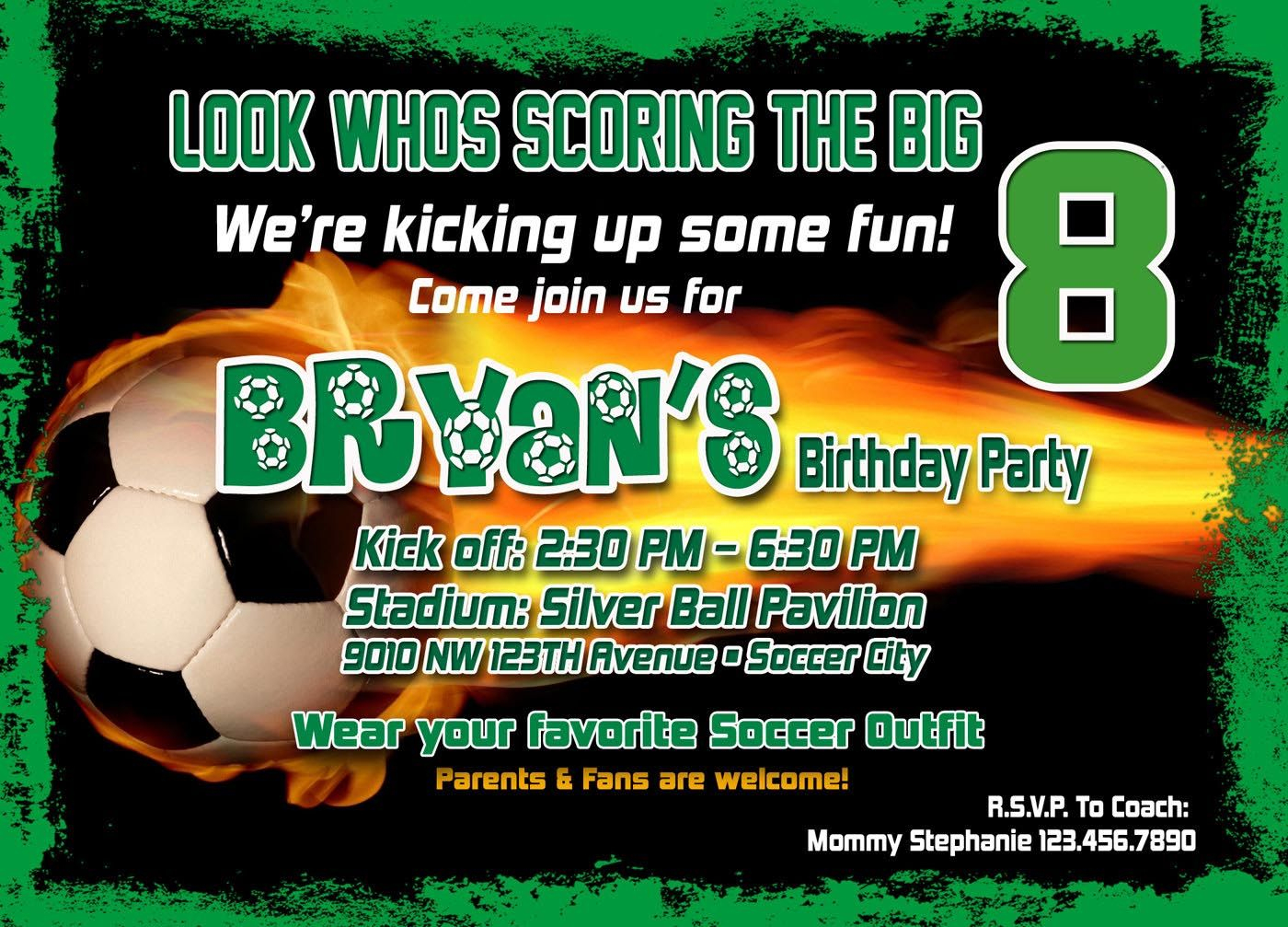 Soccer Birthday Party Invitation Template | Birthday Party - Free Printable Soccer Birthday Invitations