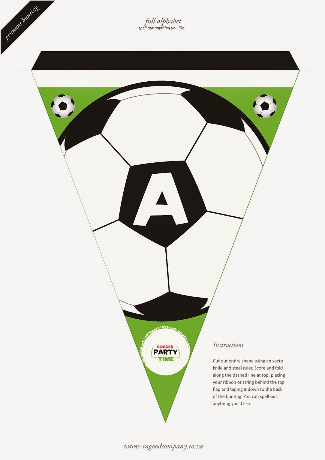 Soccer Letter Bunting - Free Printable   На День Рождения - Free Printable Soccer Birthday Invitations
