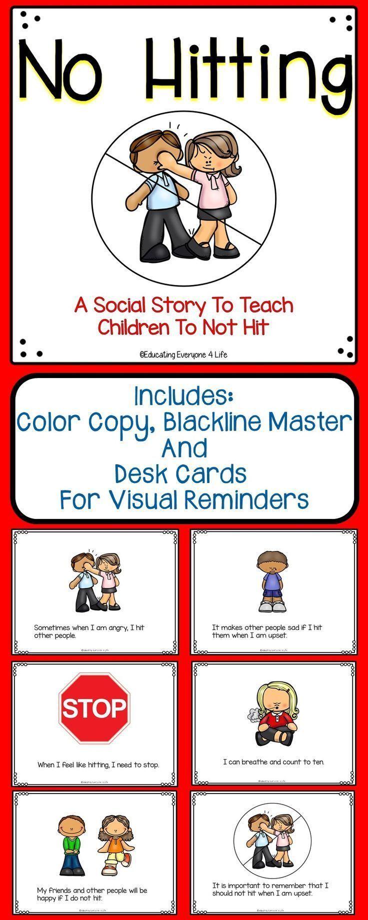 Social Story For Children - No Hitting | Elementary Behavior - Free Printable Social Stories For Kids
