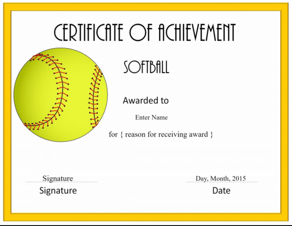 Softball Awards Certificate Template Archives - Southbay Robot With - Free Printable Softball Certificates