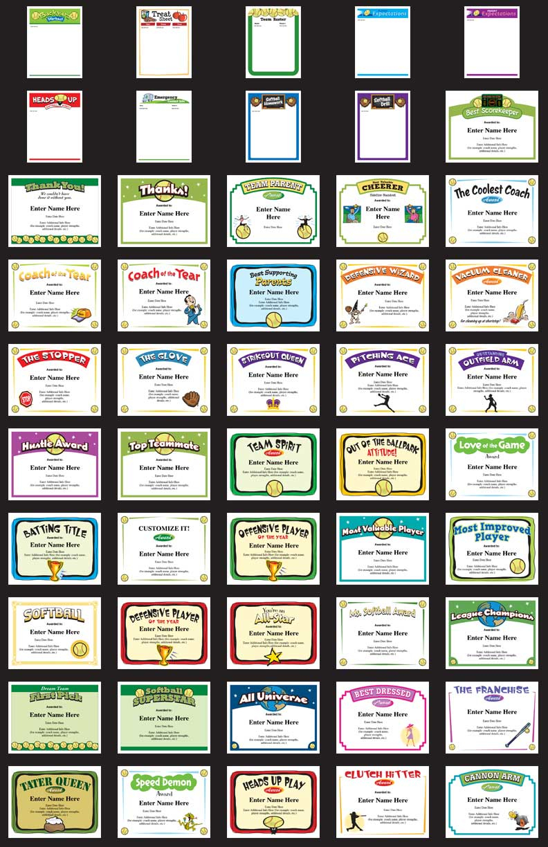 Softball Certificates - Free Award Certificates - Free Printable Softball Pictures