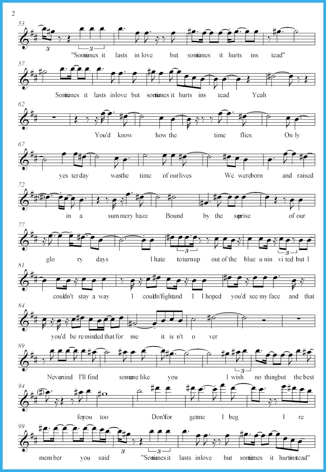 Someone Like You Sheet Music | Kiddo Shelter - Free Printable Sheet Music Adele Someone Like You