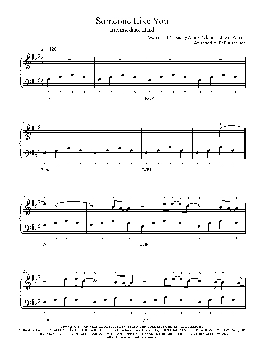 Someone Like Youadele Piano Sheet Music | Intermediate Level - Free Printable Sheet Music Adele Someone Like You