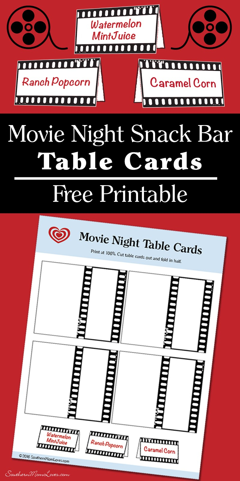 Southern Mom Loves: Movie Night Snack Bar Table Cards {Free Printable} - Free Concessions Printable