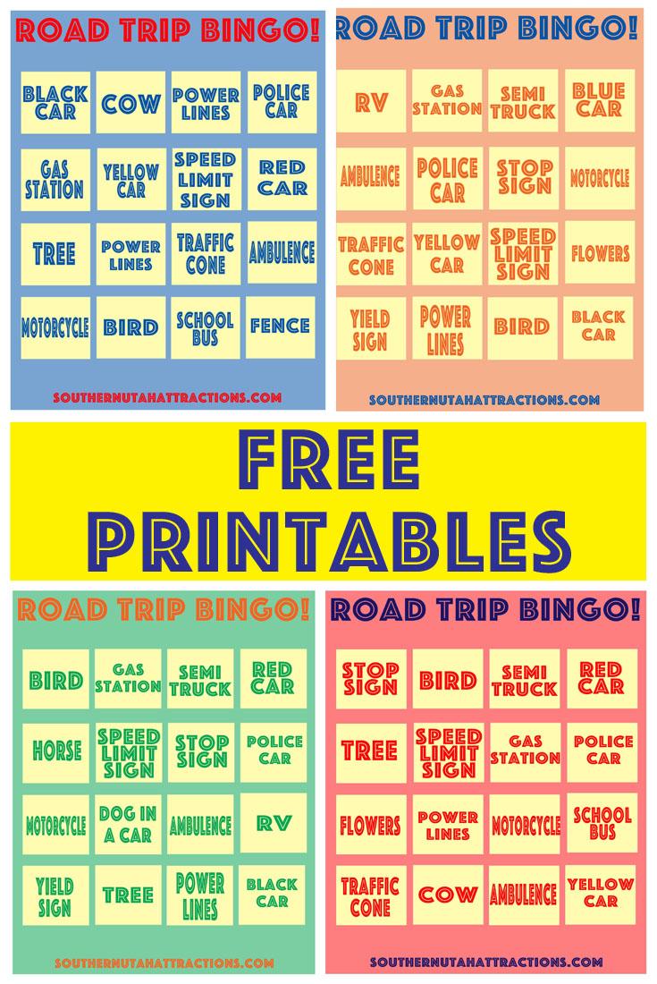 Southern Utah Attractions: Free Printable: Road Trip Bingo - Free Printable Car Bingo