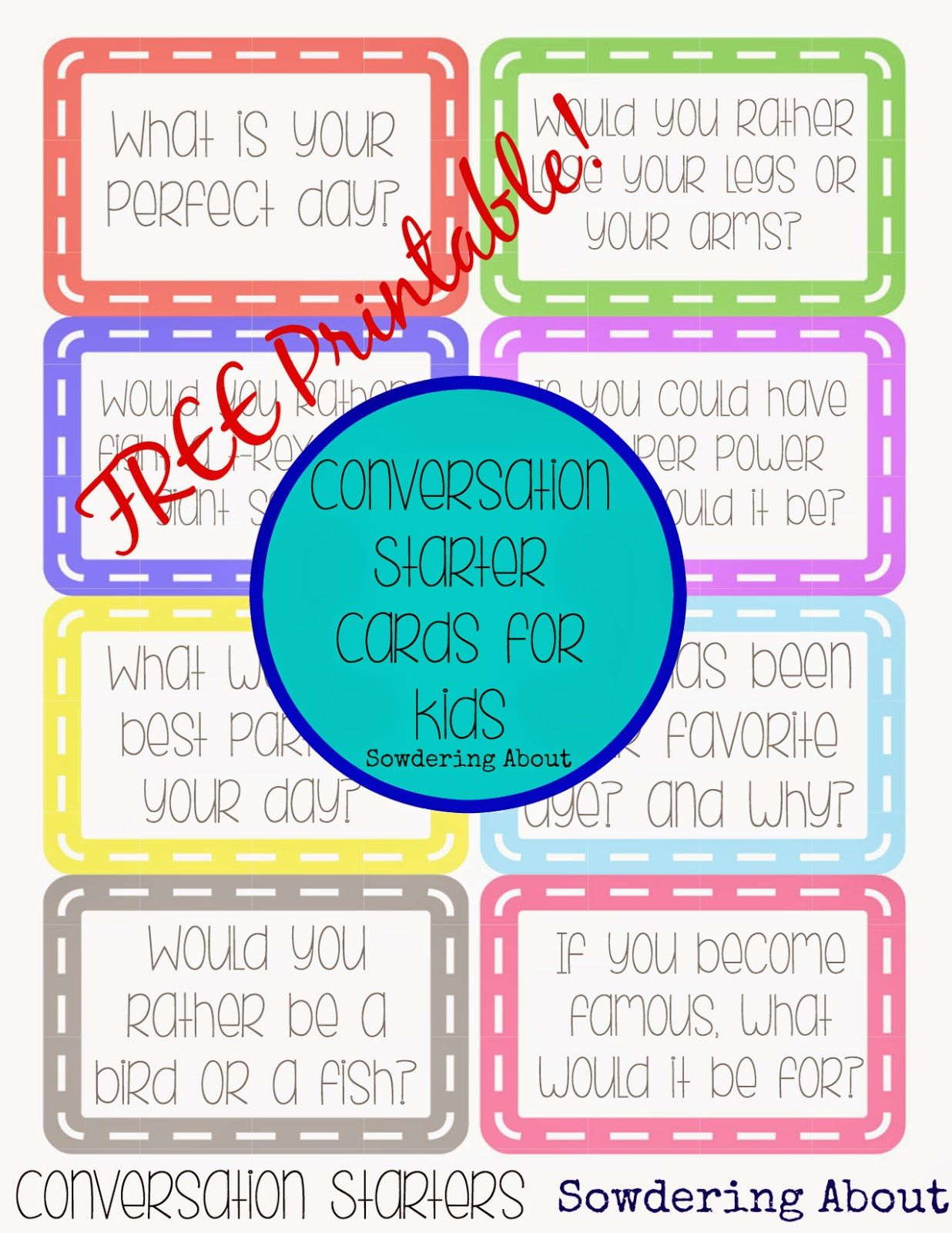 Sowdering About: Conversation Cards - Free Printable | Activities - Free Printable Group Games