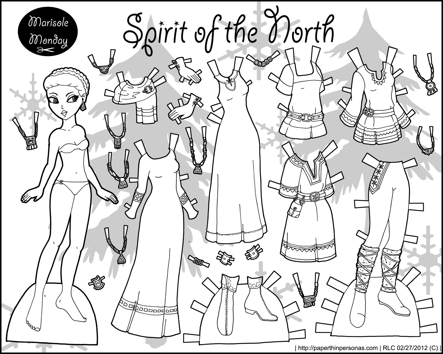 Spirit Of The North: Black And White Printable Paper Doll • Paper - Free Printable Paper Dolls Black And White