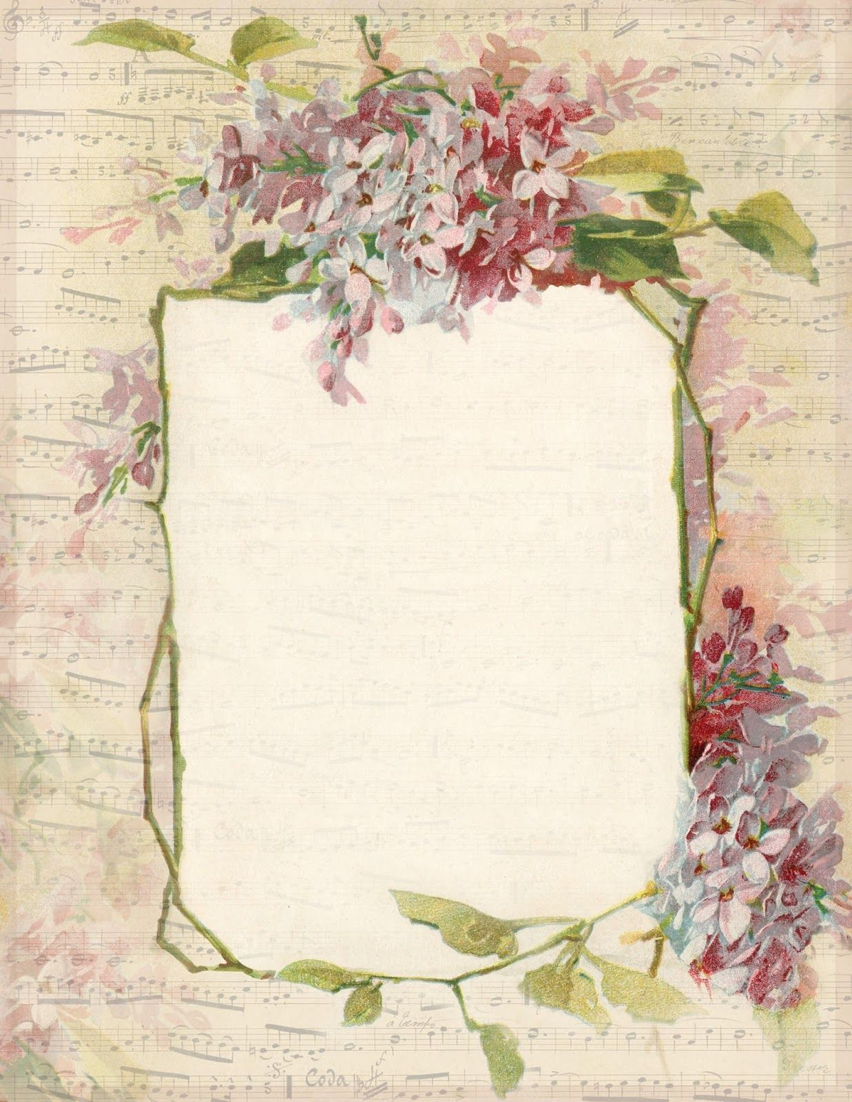 Spring Lilacs & Music ~ Free Printable Stationery, Featuring A Lilac - Free Printable Spring Stationery