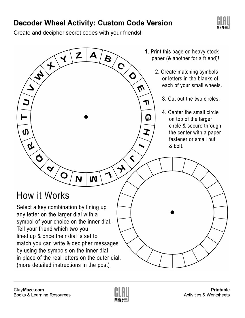 Spy Decoder Wheel – Custom Code Version | Free Printable Children's - Free Printable Personalized Children's Books
