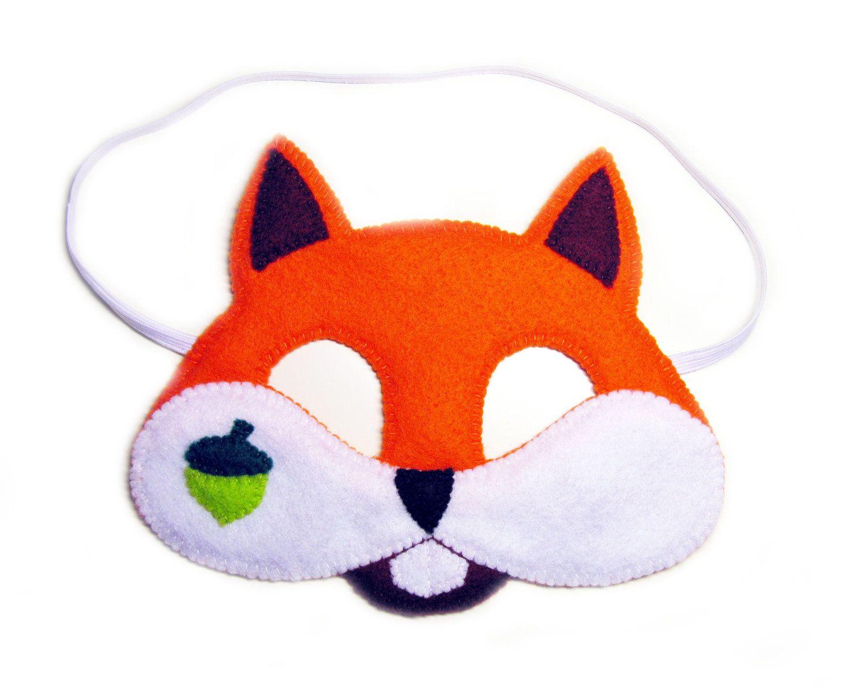 Squirrel Felt Mask For Kids And Adult - Orange - Handmade Forest - Free Printable Chipmunk Mask