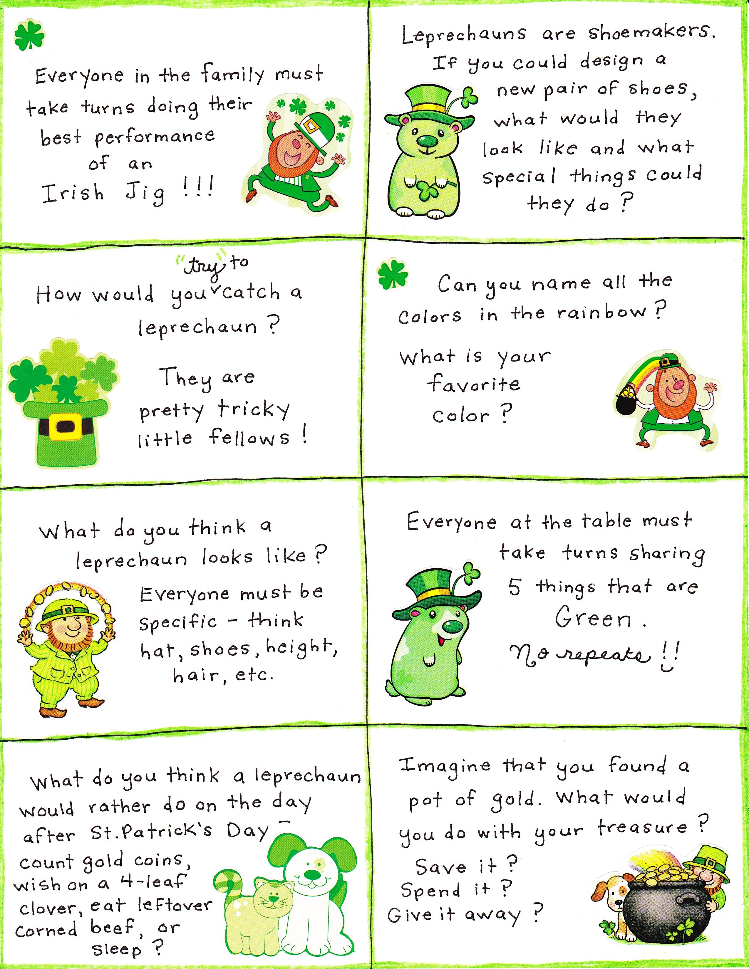 St. Patrick's Day Conversation Cards - Free Printable | Celebration - Free Printable St Patrick's Day Card