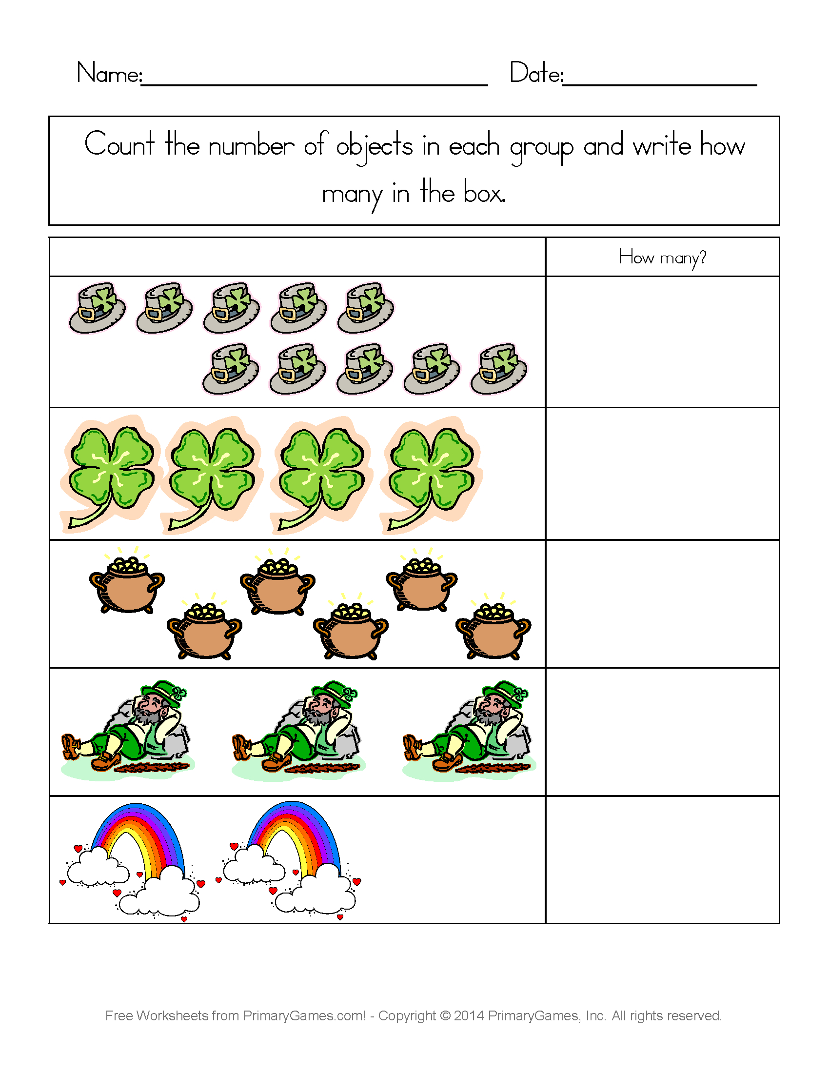 St. Patrick's Day Worksheets: St. Patrick's Day Counting Practice - Free Printable St Patrick Day Worksheets