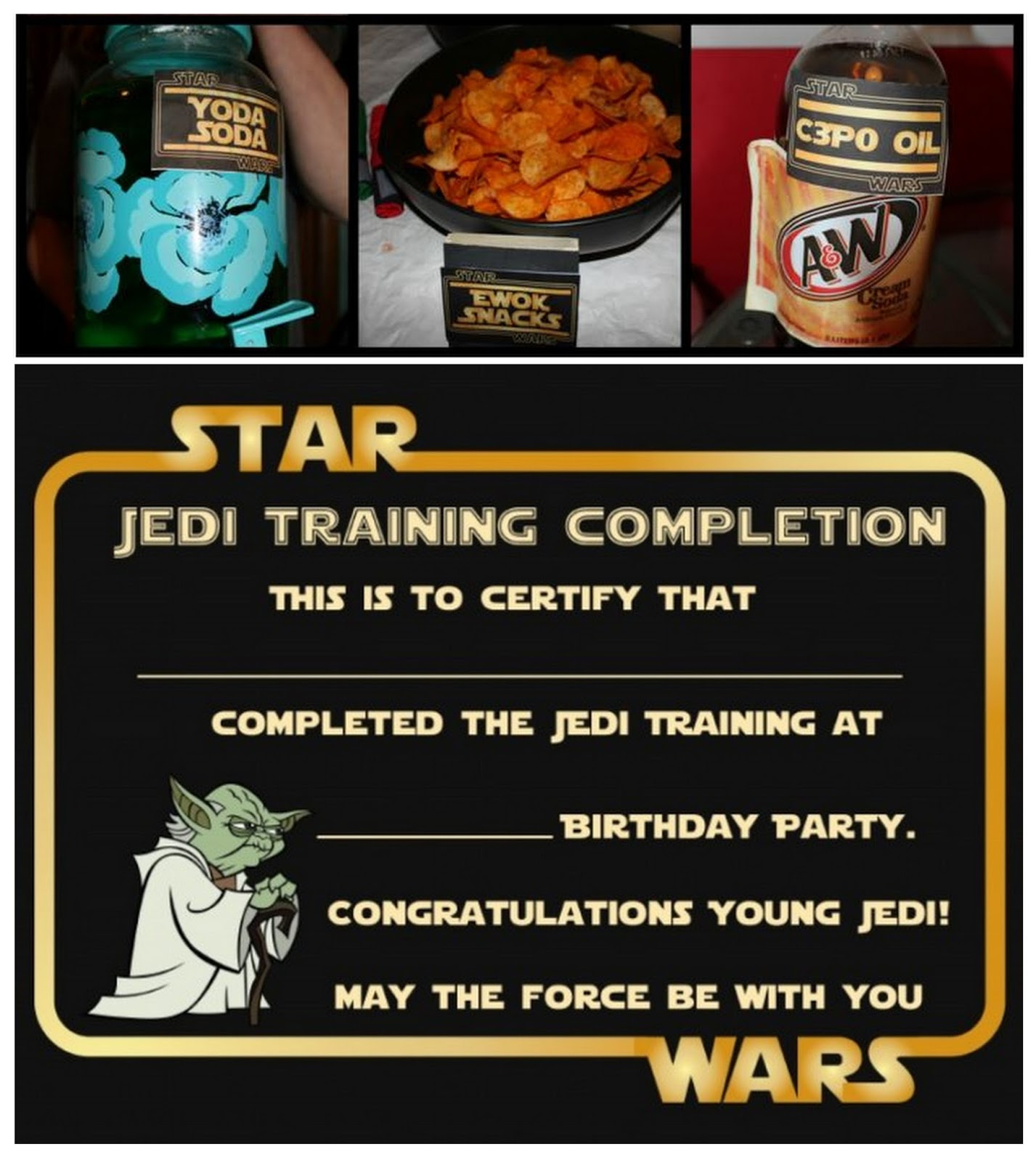 Star Wars Party: Free Printable Food Cards And Certificate. - Oh My - May The Force Be With You Free Printable