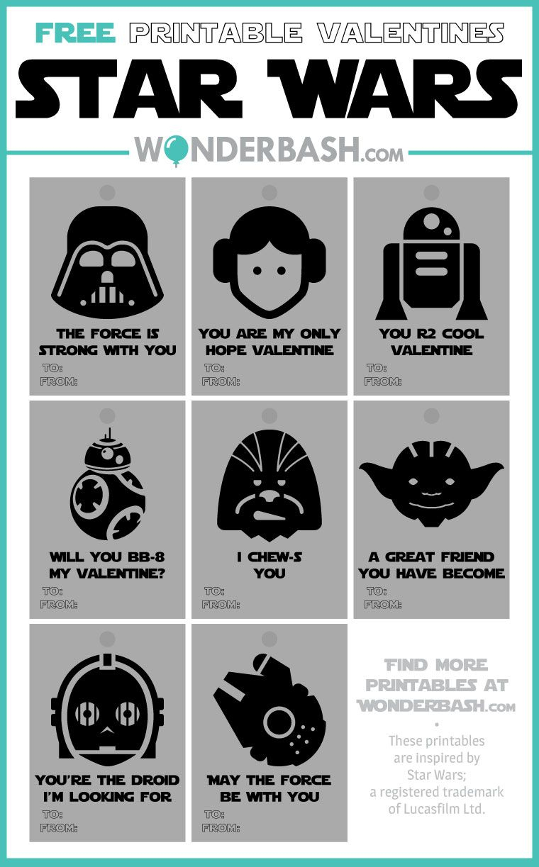 Star Wars Valentines Printables Free Download | Parties Full Of - May The Force Be With You Free Printable