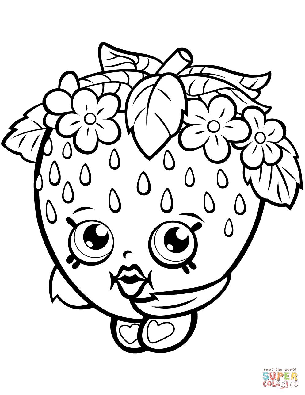 Strawberry Kiss Shopkin Coloring Page   Free Printable Coloring - Shopkins Coloring Pages Free Printable