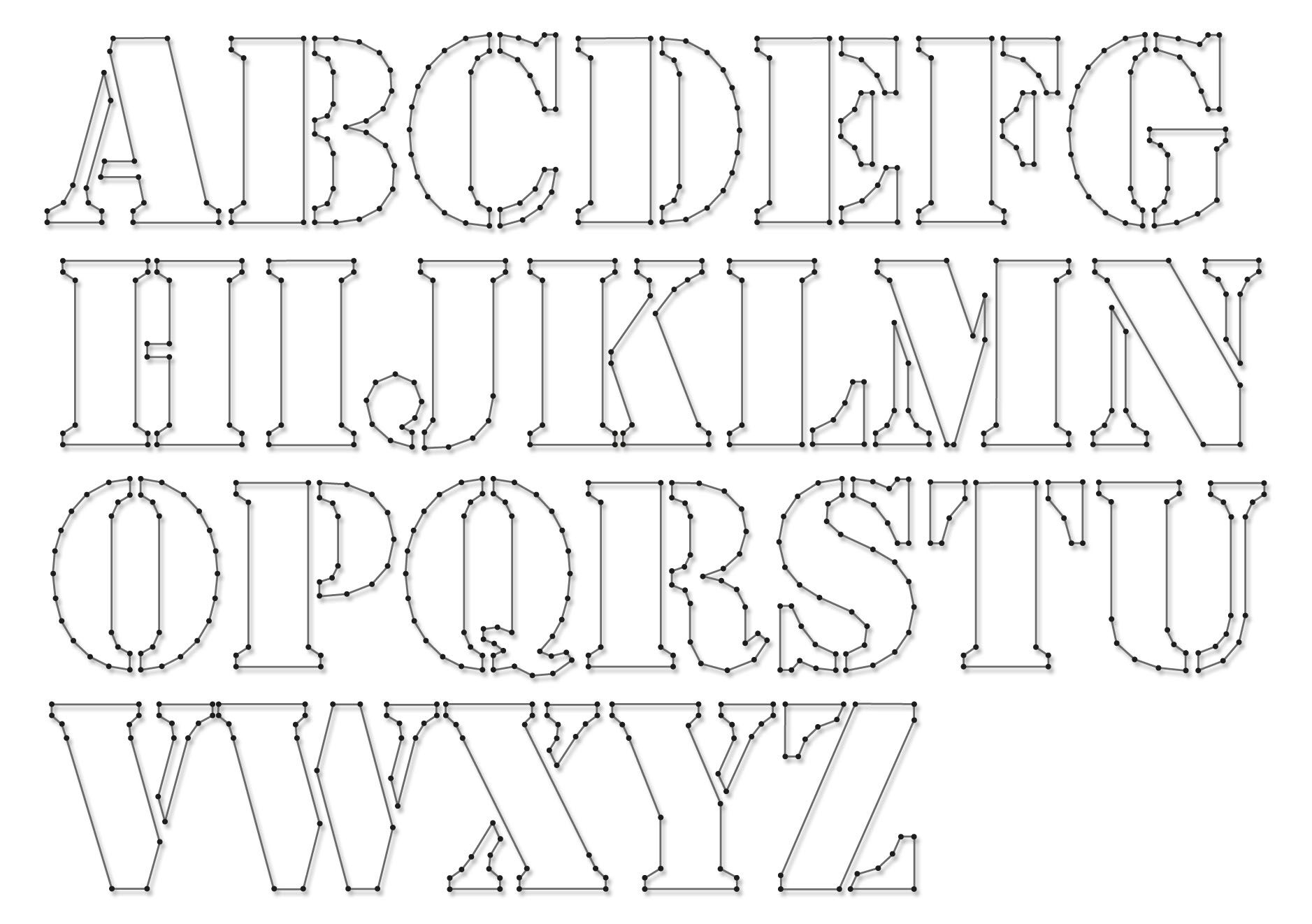String-Art Pattern Sheets Alphabet Stencil (Letter Height 10Cm - Free Printable Photo Letter Art