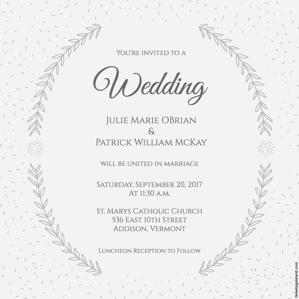 Stylized Laurels Wedding Invitation | Free Printable Wedding - Free Printable Wedding Invitations