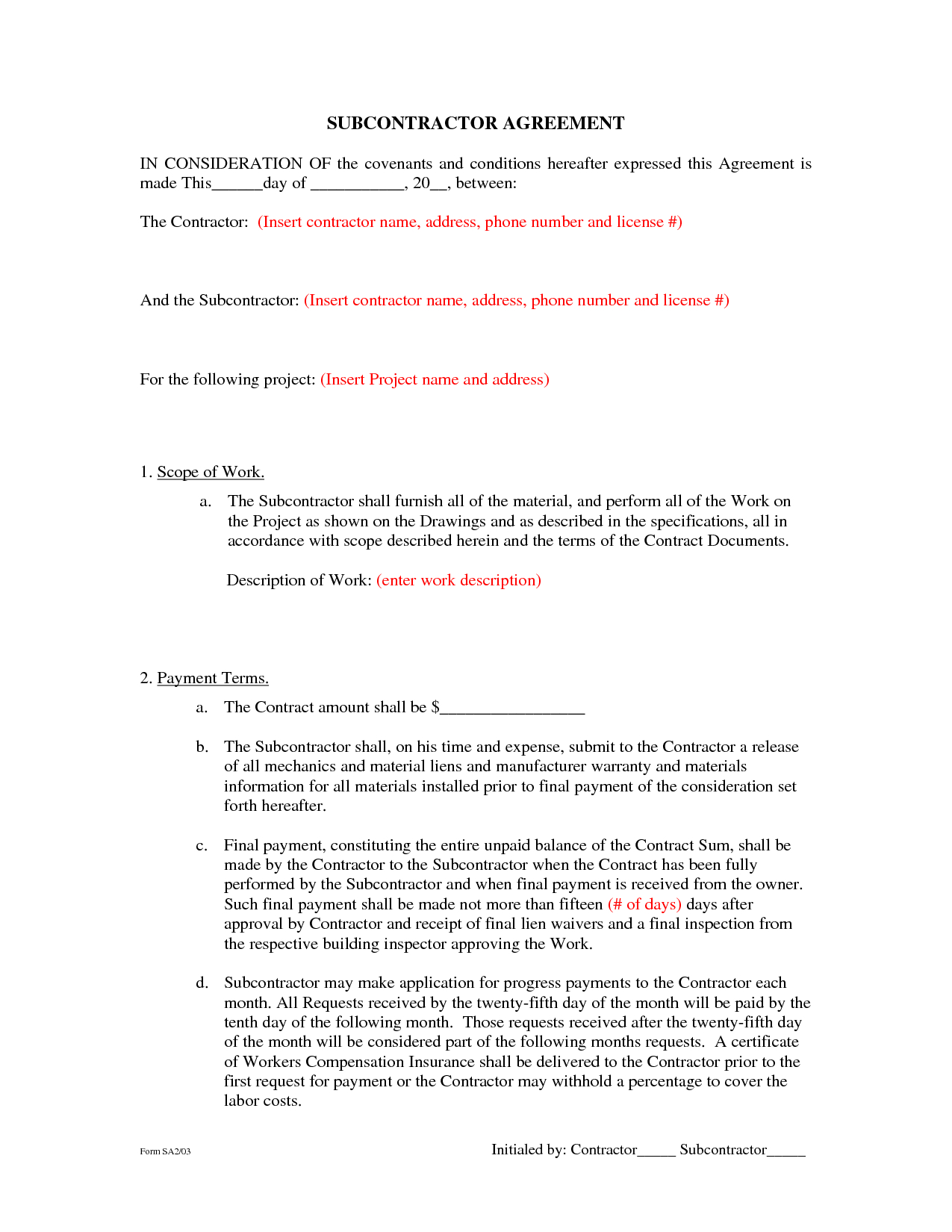 Subcontractor Agreement Template - Subcontractor Agreement Template - Free Printable Handyman Contracts