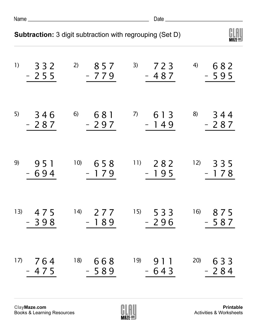 Subtraction Worksheet – 3 Digit Subtraction With Regrouping (Set D - Free Printable 3 Digit Subtraction With Regrouping Worksheets