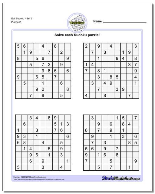 Sudoku Evil - Ecosia - Free Printable Sudoku 6 Per Page