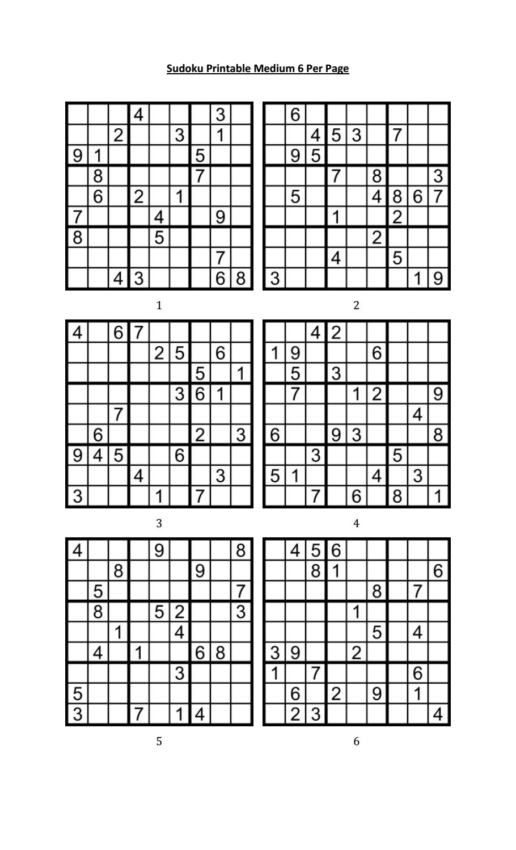 Sudoku Printable Medium 6 Per Pageaaron Woodyear - Issuu - Free Printable Sudoku 6 Per Page