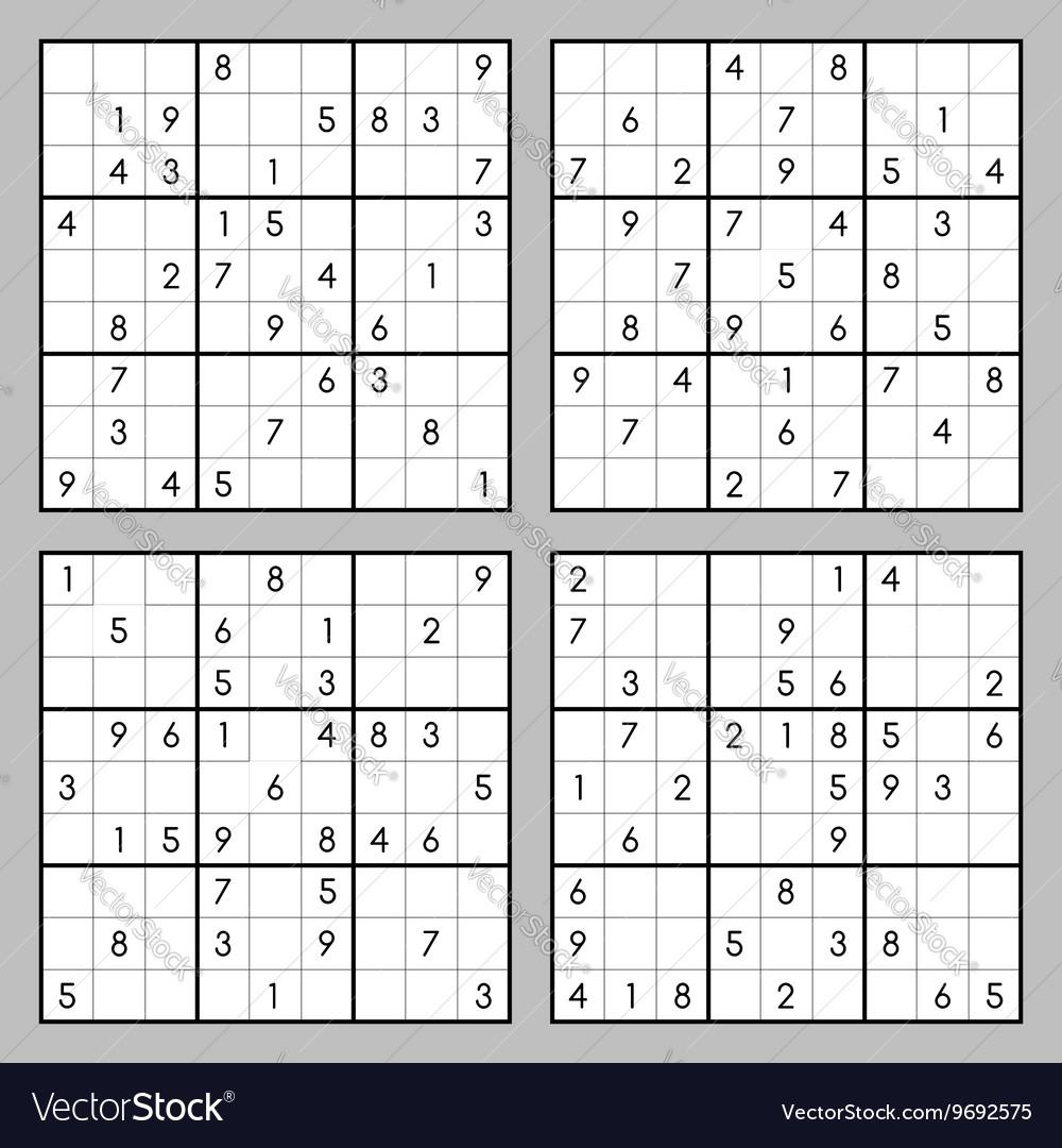 Sudoku Puzzles Royalty Free Vector Image - Vectorstock - Free Printable Sudoku 4 Per Page