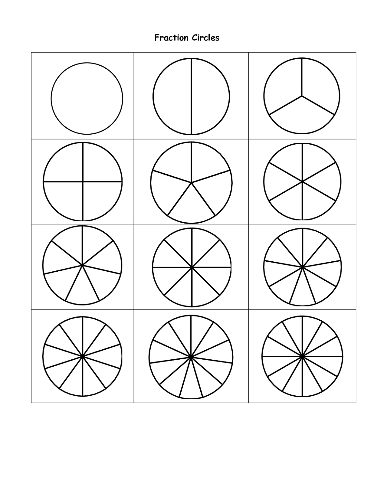 Summary -> Free Printable Fraction Circles File Folder Fun - Free Printable Blank Fraction Circles