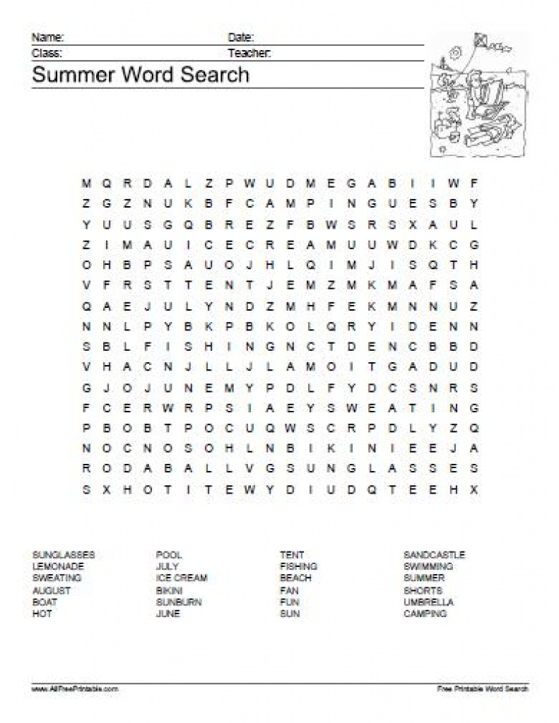 Summer Word Search Puzzle - Free Printable - Allfreeprintable For - Free Printable Summer Puzzles