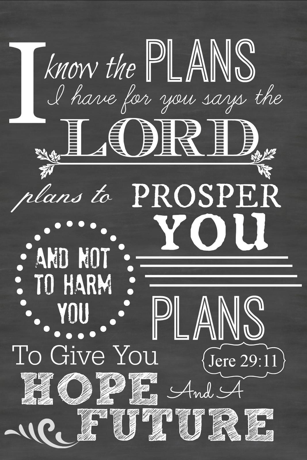 Sunday Scripture Printable Chalkboard Art | Scripture Quotes - Jeremiah 29 11 Free Printable