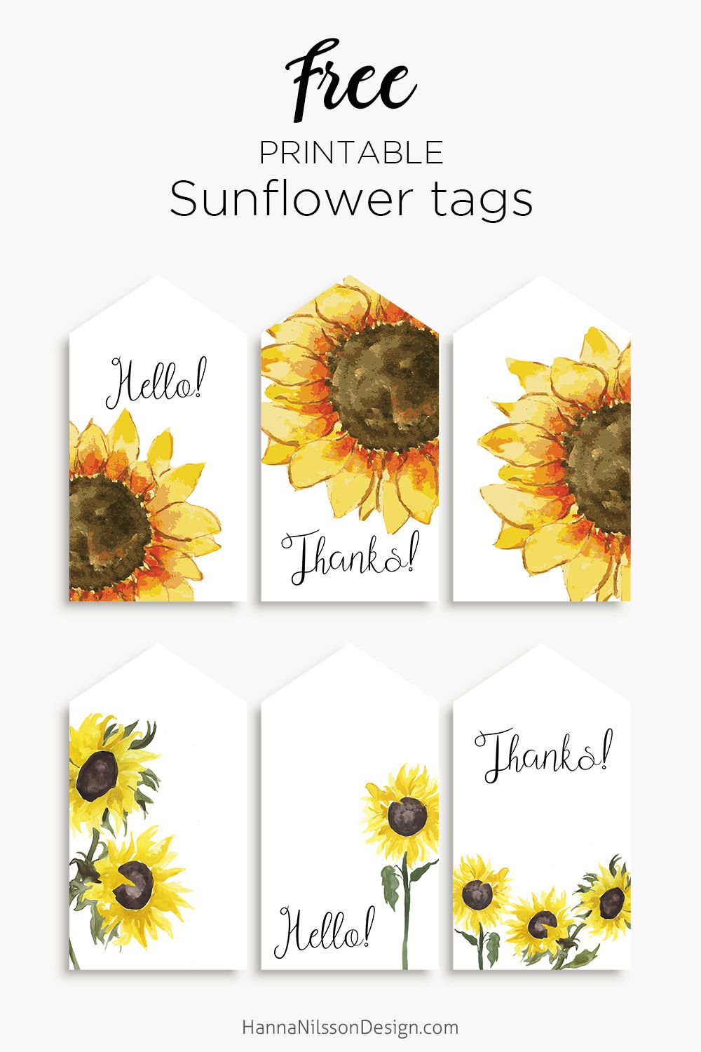 Sunflower Tags | Free Printable Gift Tags | #sunflowers #printables - Free Printable Sunflower Template