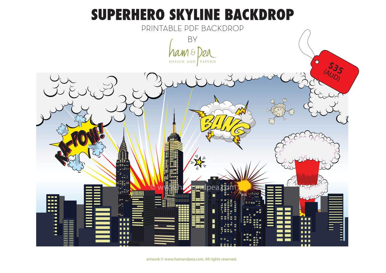 Superhero Skyline Explosion Backdrop (Pdf File) In 2019   Caden's - Free Printable Superhero Skyline