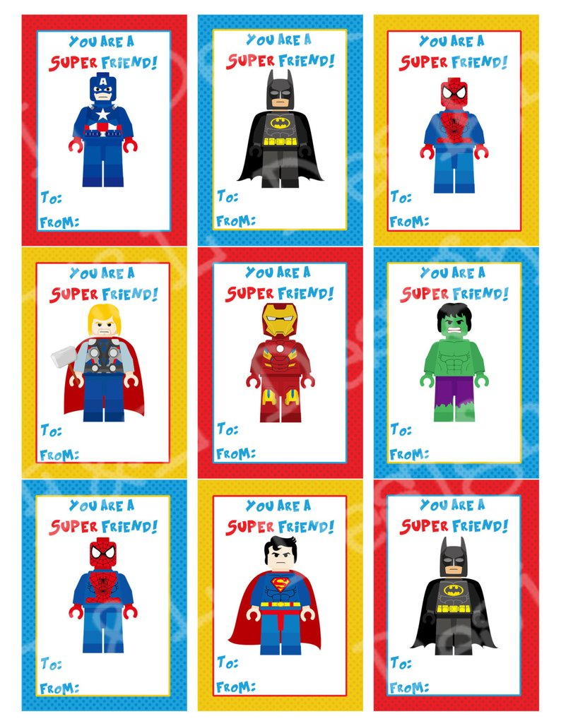 Superhero Valentine's Day Cards Valentine's Day | Etsy - Free Printable Superman Valentine Cards