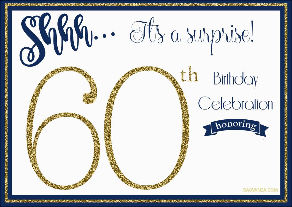 Surprise 60Th Birthday Party Invitations Template | Birthdaybuzz - Free Printable Surprise 60Th Birthday Invitations