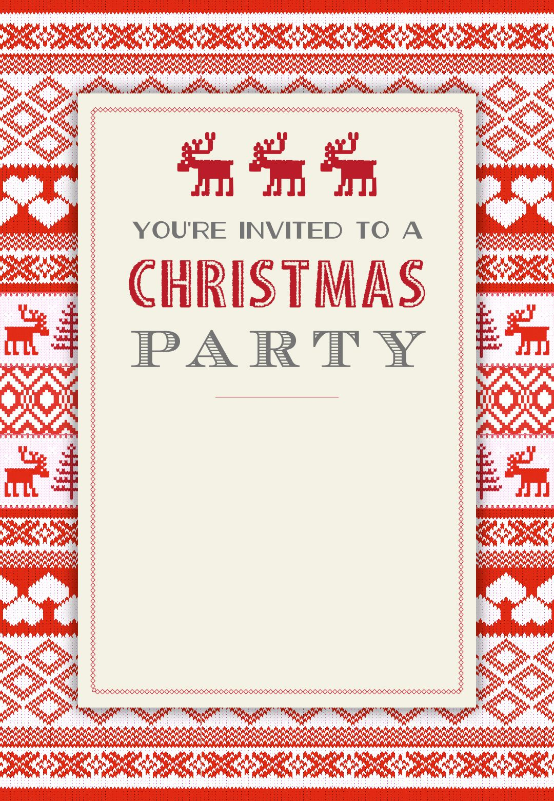Sweaters Pattern - Free Printable Christmas Invitation Template - Free Printable Christmas Invitations