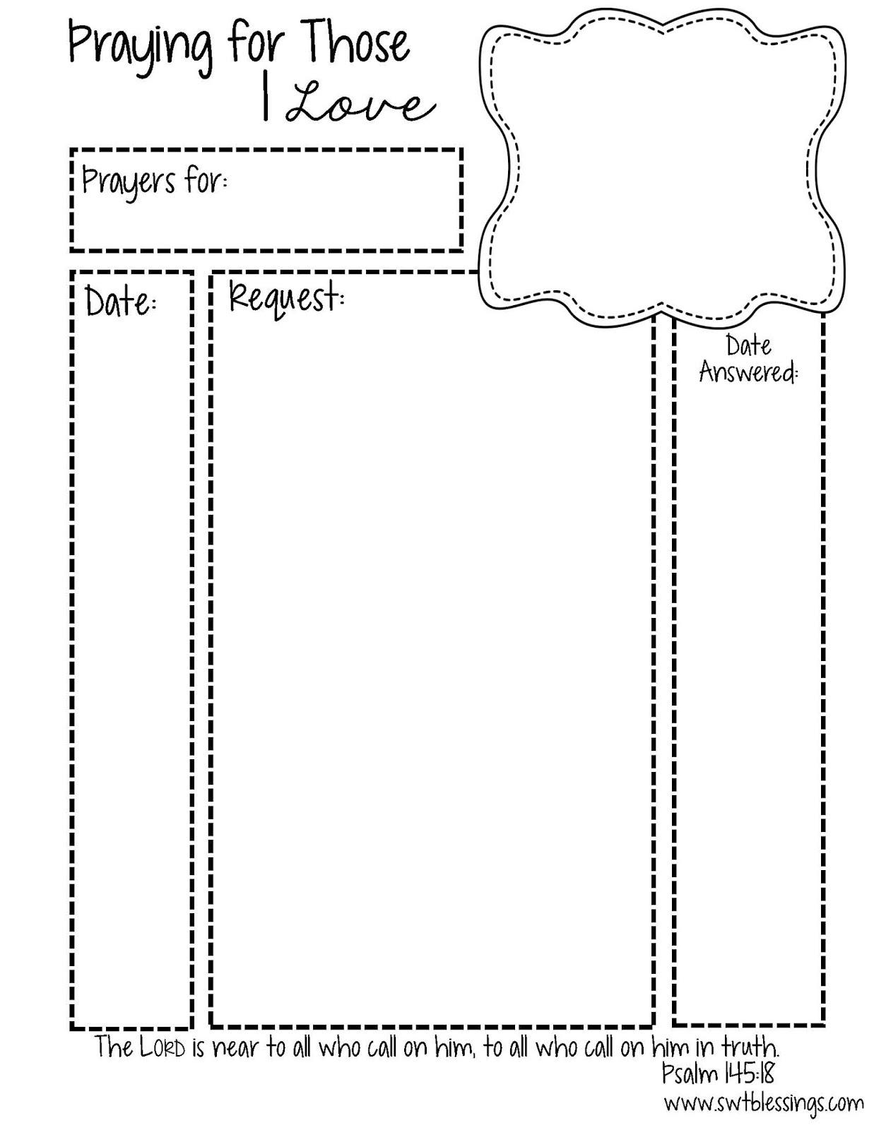 Sweet Blessings: Prayer Request Printables - Free Printable Prayer List