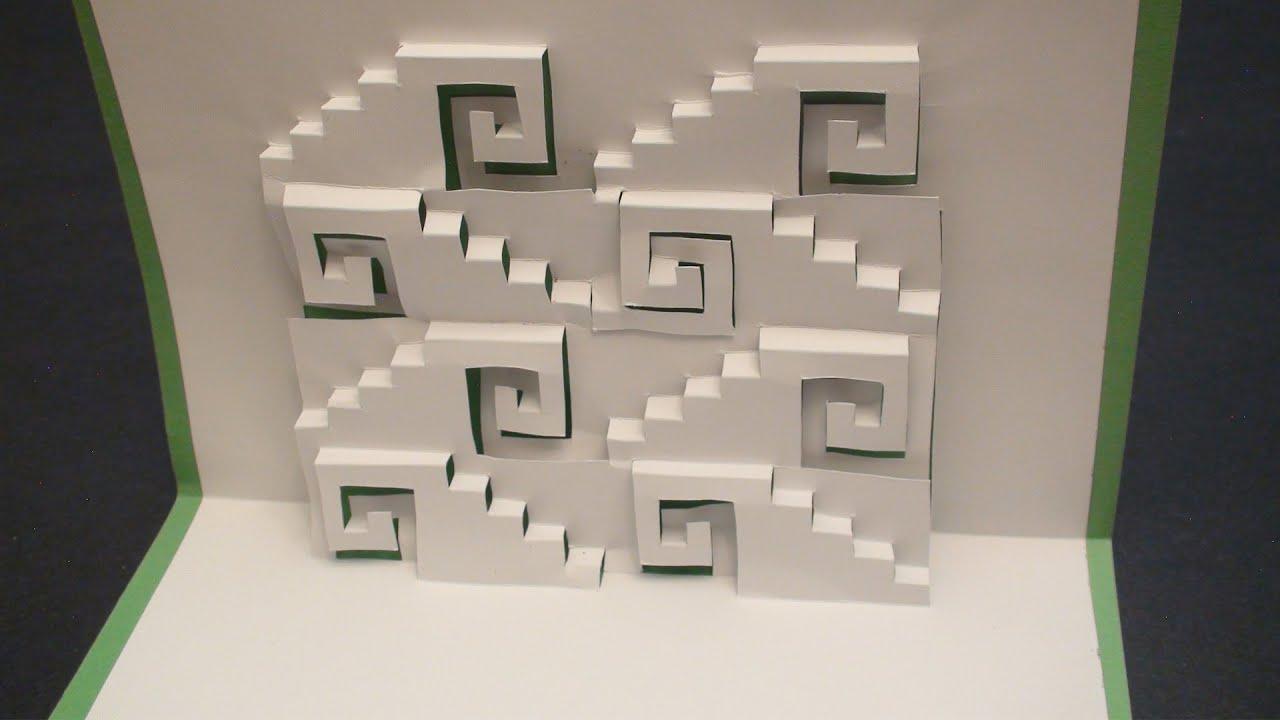 Swirly Steps Pop Up Card Kirgami   Free Template! - Youtube - Free Printable Kirigami Pop Up Card Patterns
