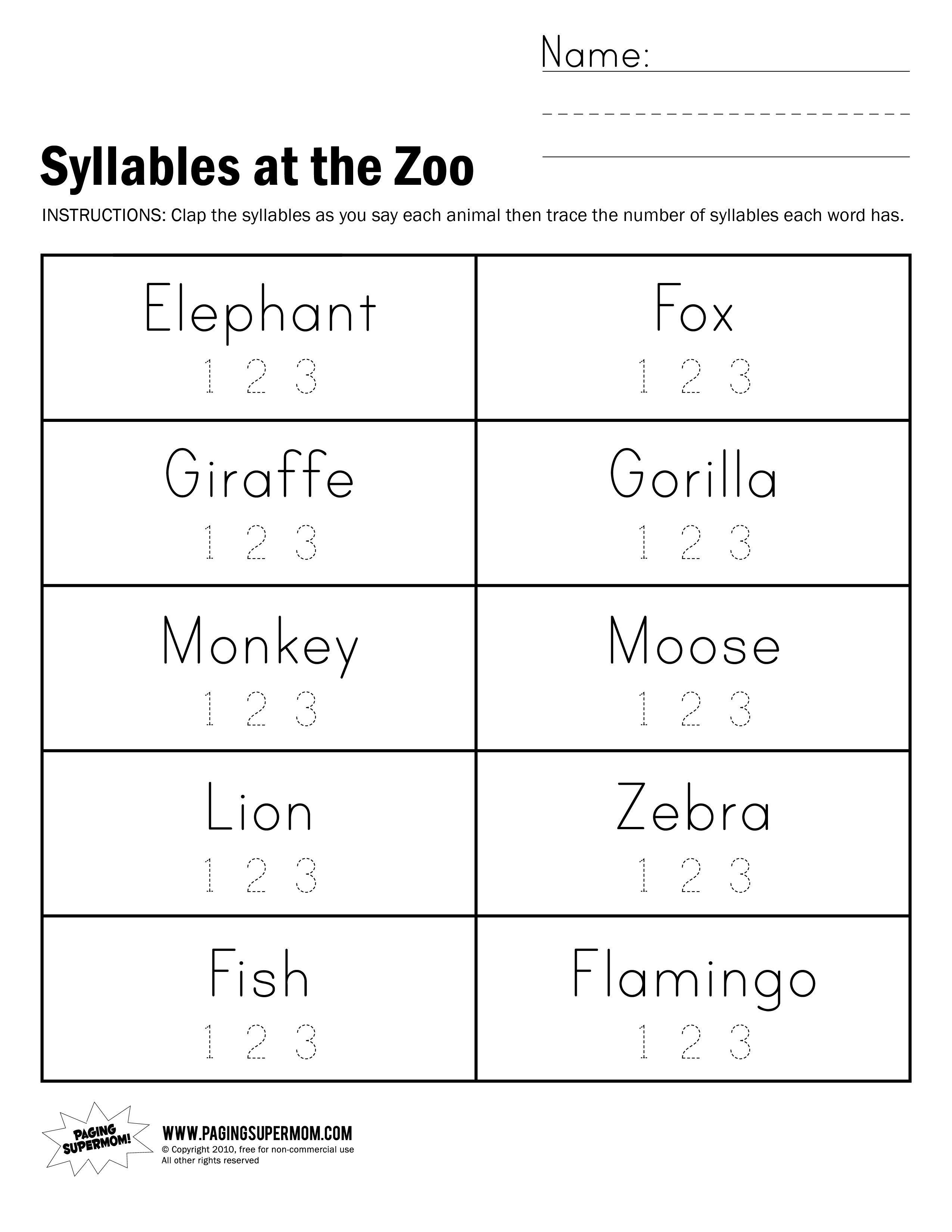 Syllables At The Zoo Worksheet - Free Printable Open And Closed Syllable Worksheets