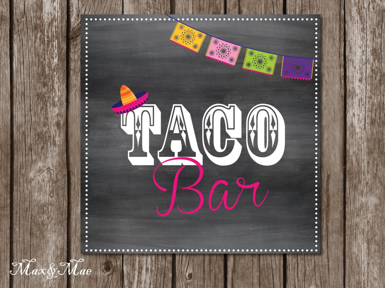 Taco Bar Sign Fiesta Party Posters Hot And Mild Tags Taco   Etsy - Free Printable Taco Bar Signs